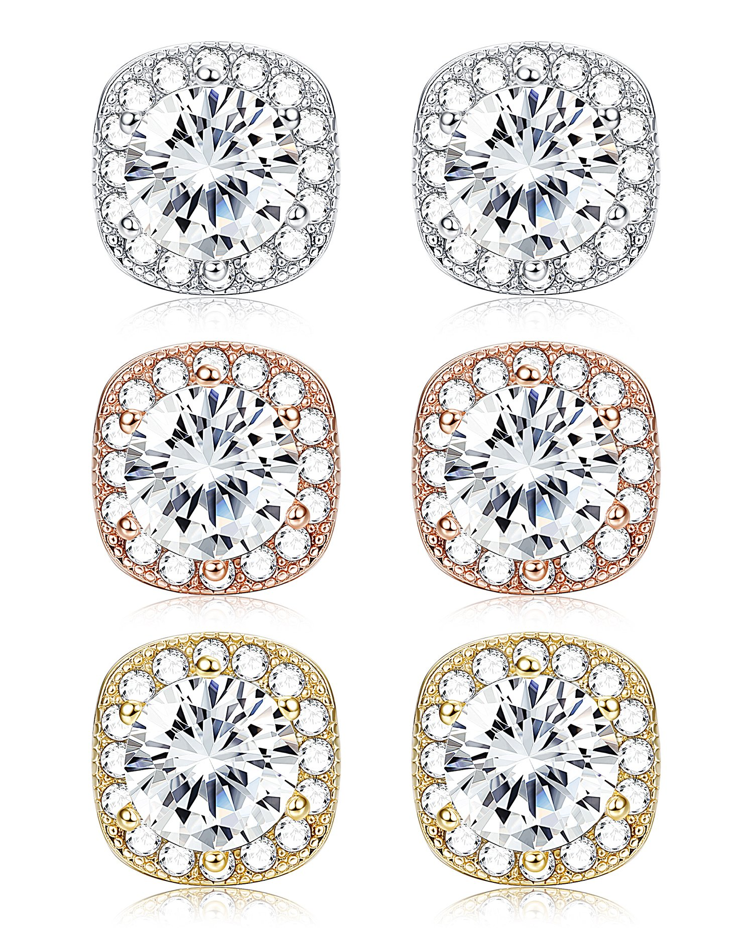 LOYALLOOK Cubic Zirconia Earrings White Gold Plated Halo Stud Earrings for Women Stud Earrings set