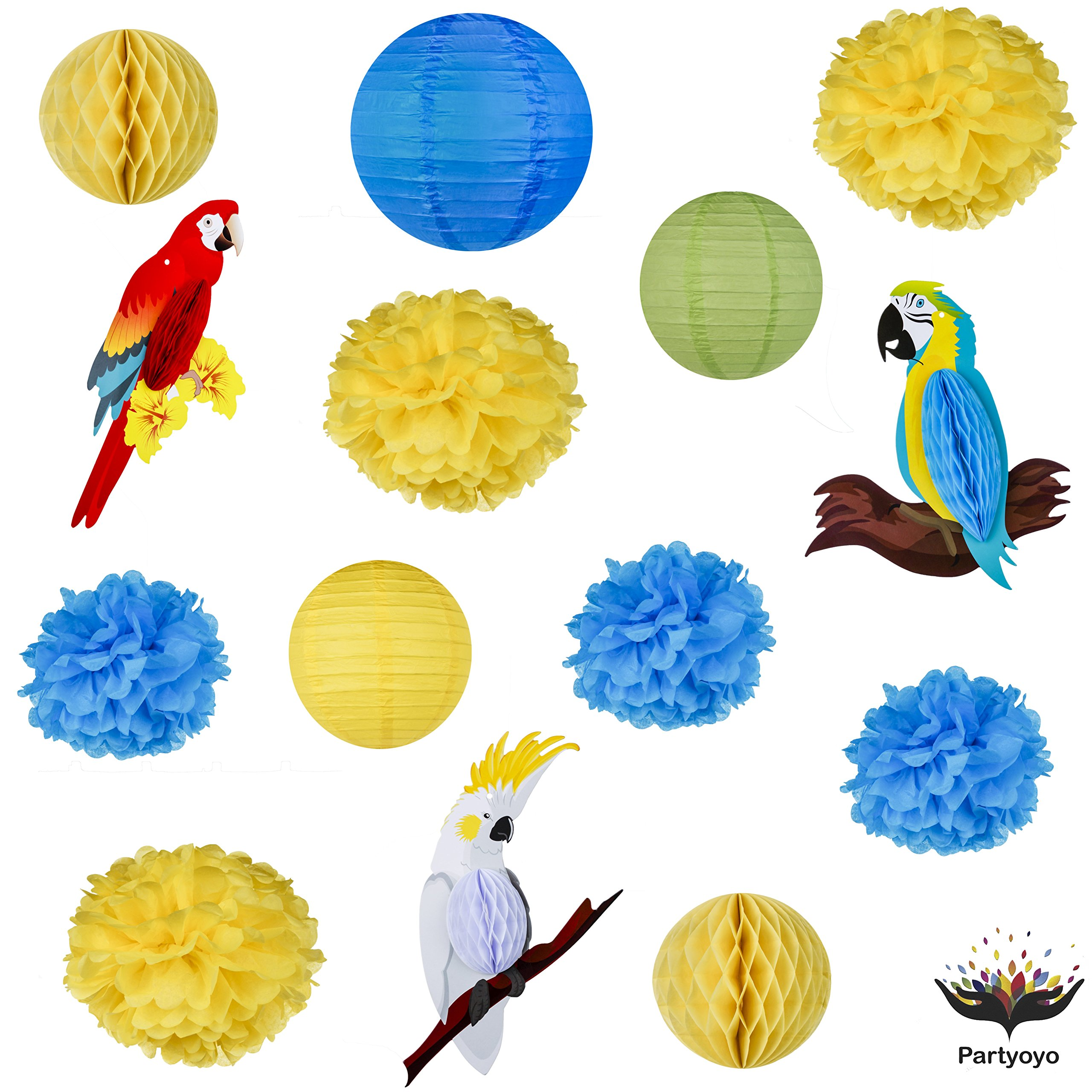 Bright and Colorful Paper Lanterns – Lantern Party Decorations for Festivals, Birthdays, Anniversaries – Flower, Ball, and Parrot Paper Lanterns – Set of 14 Sturdy Color Party Decorations by Partyoyo