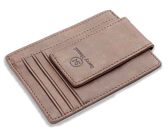 e6845d228ed Image Unavailable. Image not available for. Color  Money Clip Front Pocket  Wallet Slim Minimalist RFID Blocking Leather ...