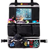 Backseat Car Organizer For Family by Motorishy- Best Toy Storage Bag For Traveling With Kids- Large Spacious Pockets- Tablet Holder and Book Compartment- Heavy Duty Back Seat Protector and Kick Mat