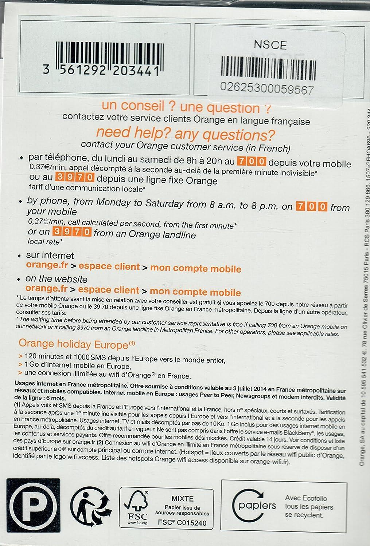 Amazon.com: Orange European prepaid SIM (120 mm, 1000 SMS, 1 ...