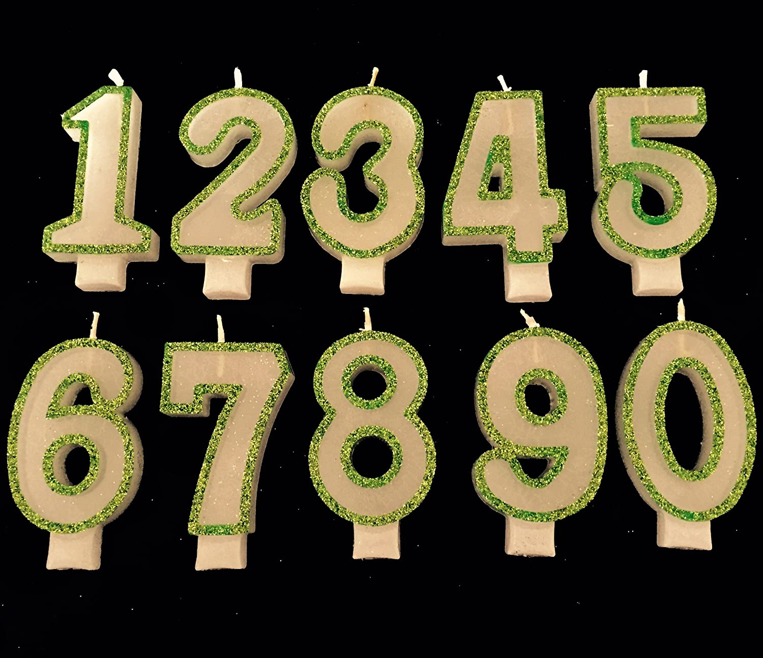 9 Wasiwax No Birthday Candle GREEN GLITTER Jesmon Trading Limited