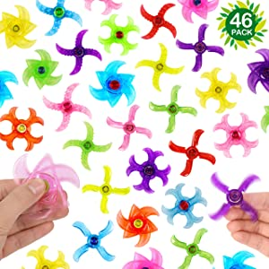 46-Pack Party Fidget Gyro Set,Mini Plastic Finger Gyro,Fidget Toys Spinner Party Pack By SephireREX (Random Styles and Colors)