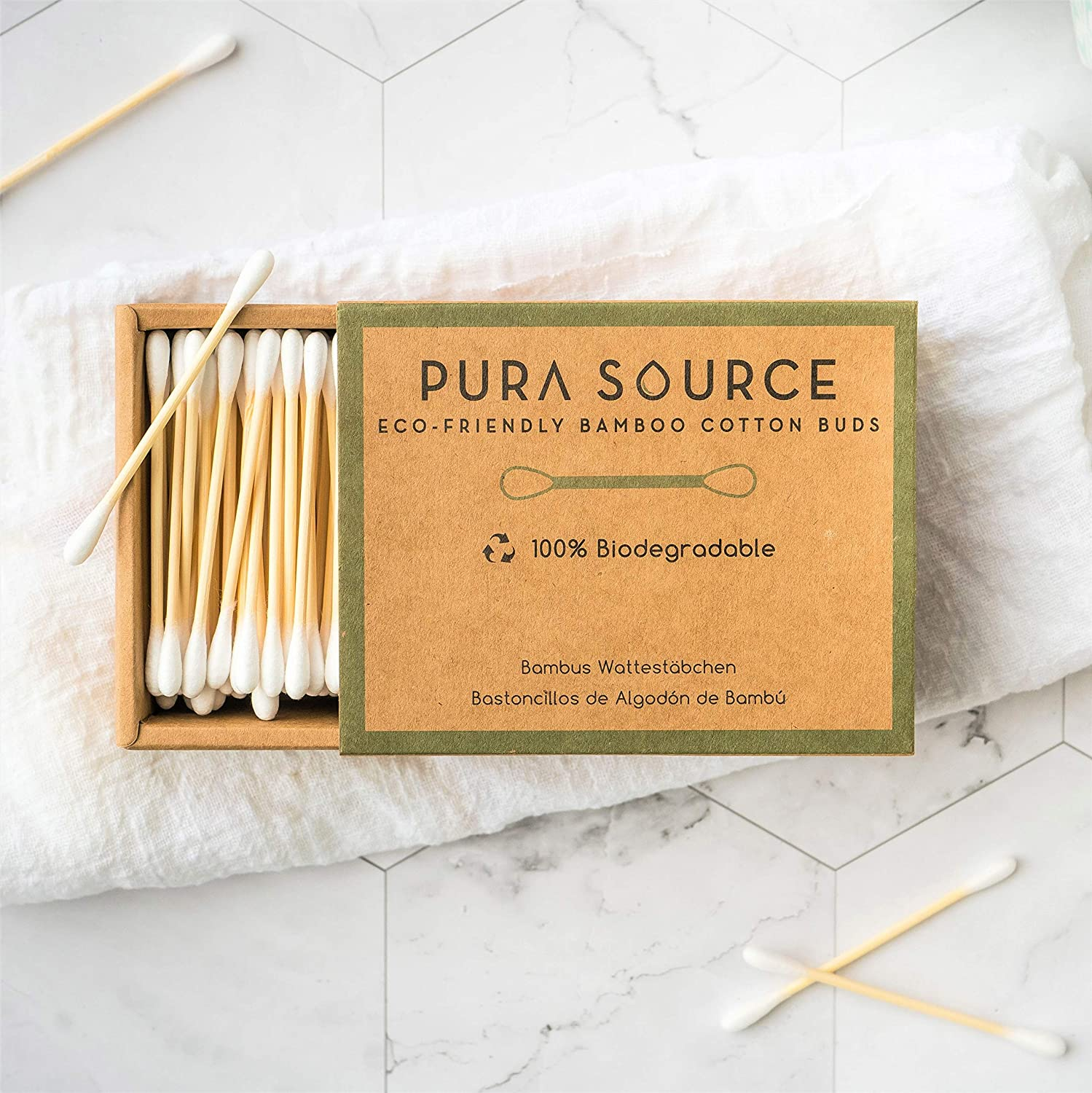 Bamboo Cotton Buds by Pura Source : 800 Biodegradable Organic Buds : Alternative to Single-Use Plastics : Easy-Slide Biodegradable Kraft Boxes : Eco-Friendly Q Tips