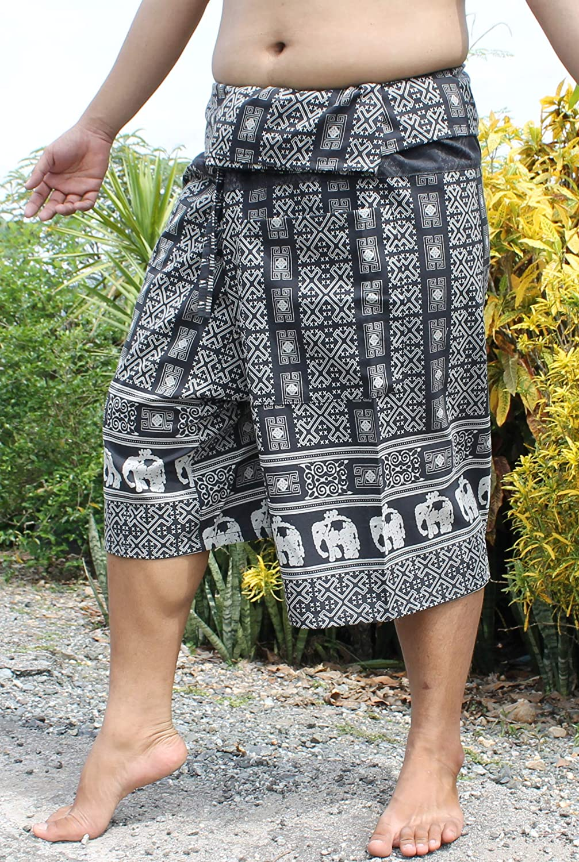 RaanPahMuang Cotton Elephant Art 3//4 Leg Thai Wrap Fisherman Pants Soft Cotton