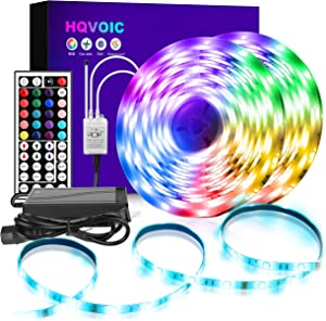 HQVOIC LED Strip Lights 32.8ft RGB LED Light Strip Waterproof 5050 LED Tape Lights Color Changing Kit with Remote for Home Lighting Kitchen Bed Flexible Strip Lights for Bar Home Decoration