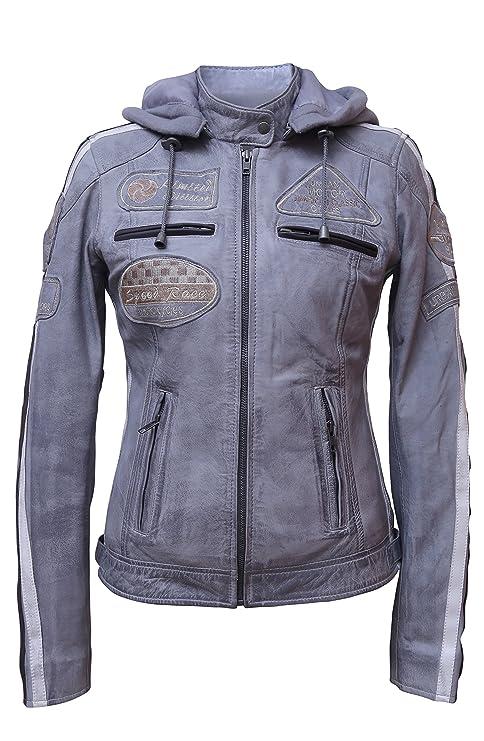Urban Leather 58 Leren Bikerjack, Chaqueta de Moto para Mujer, Gris, 36 / S