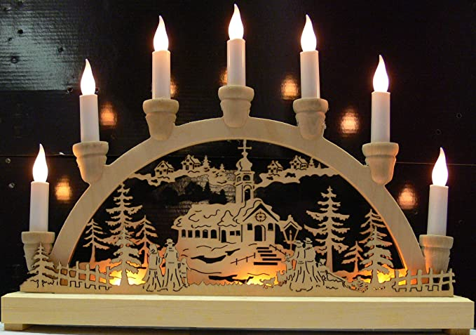 Stunning Wooden Led Christmas Window Arch With Festive Scene Amazon