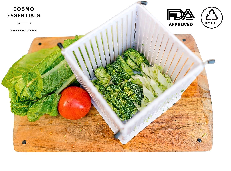 Cosmo Essentials Salad Cutter Bowl, Fruit & Vegetable Dicer - FDA Approved Salad Slicer Set, Collapsible Bowl & Strainer, Safe Chopper Bowl, Fast & Easy Fruit / Vegetable Slicer ( Large Family Size ) SaladCutter 001