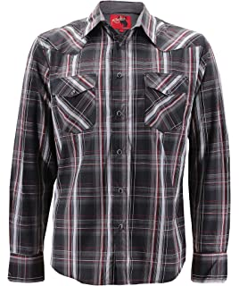 906de175 Rodeo Clothing Co. Men's Western Cowboy Pearl Snap Long Sleeve Plaid Shirt