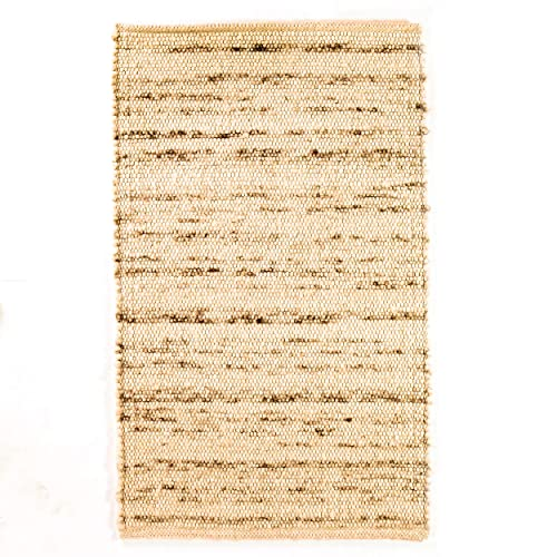 Super Area Rugs Soft Wool Textured Pebble Berber Mid-Century Modern Rug 3 x 5 , Natural Ivory