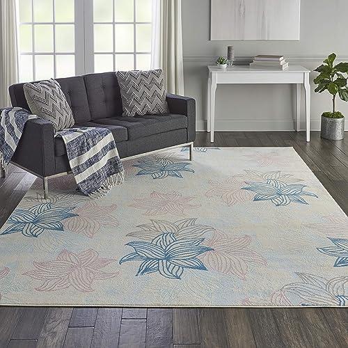 Nourison Jubilant Casual Floral Ivory Multicolor Area Rug 7 10 x 9 10 , 8 x 10