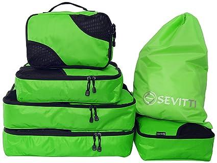 Juego de 5 bolsas de equipaje más bolsa para calzado/colada – Organizadores de equipaje para maletas y bolsas de viaje