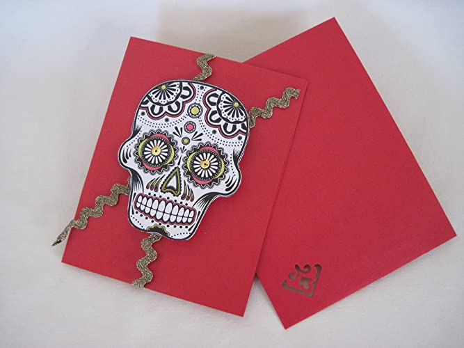 Amazon handmade creative day of the dead candy skull blank handmade creative day of the dead candy skull blank greeting card gift on red card stock m4hsunfo