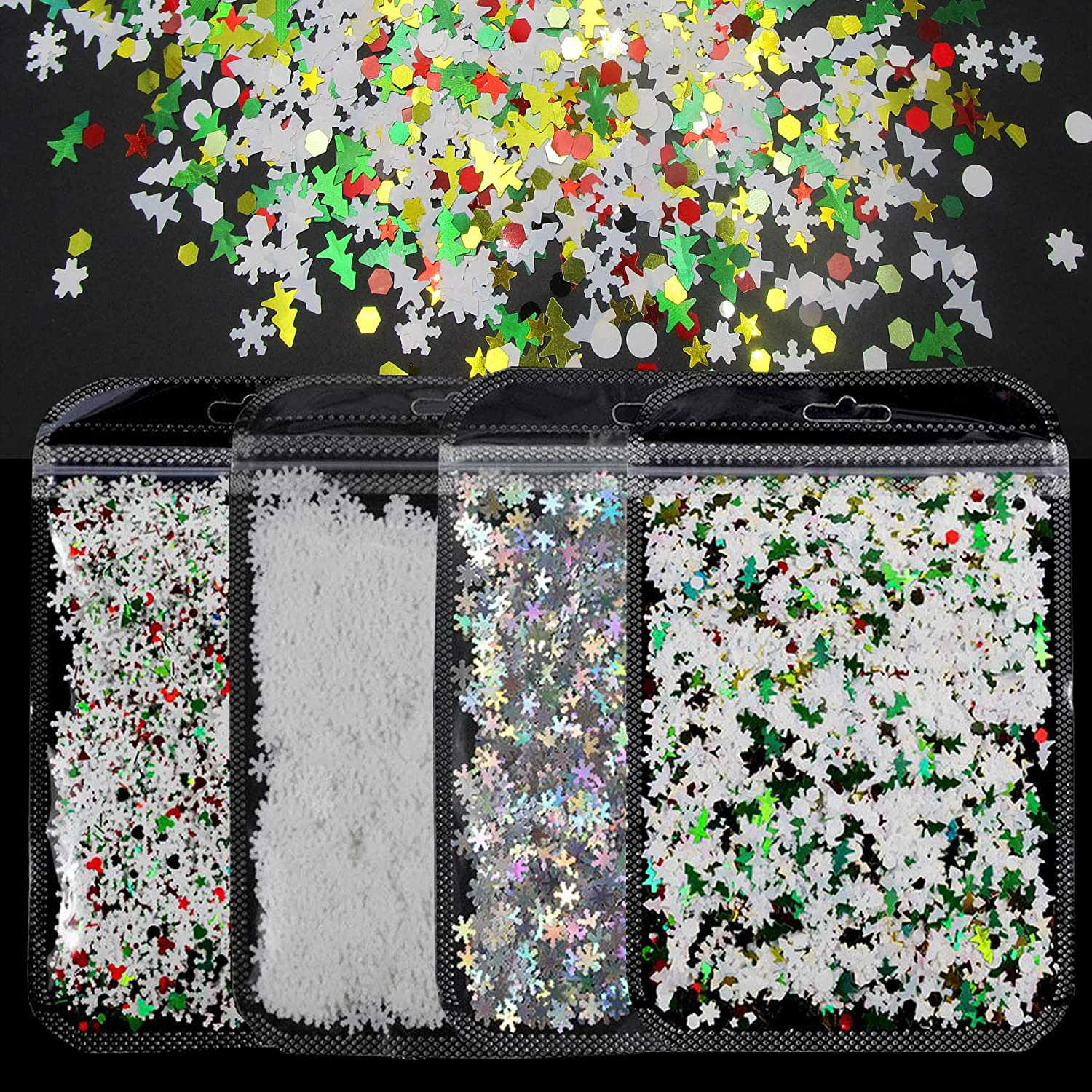 40g Christmas Snowflake Chunky Glitter Flakes Holographic Silver White Snow Glitter Sequins Confetti Acrylic Nail Art Tips Accessories Resin Epoxy Crafts Slime Festival Decor