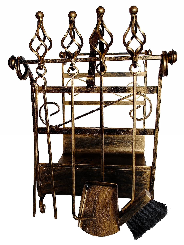 Scaffale per legna da camino con attizzatoio Art.183 Porta-legna da camino 77 cm Cesto per legna Set-camino DanDiBo