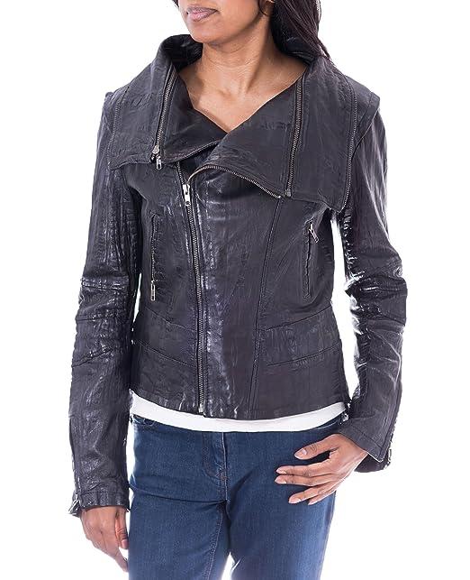Mujeres Negro suave piel de cordero Croc chaqueta de ...