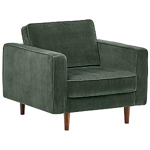 """Rivet Aiden Tufted Mid-Century Modern Velvet Accent Chair, 35.4""""W, Hunter Green"""