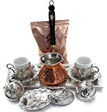 11 Pieces Espresso/Turkish Greek Arabic Coffee Full Set (Special Daphne Design) for 2 Persons Bundle with Unique Copper Coffee Pot & 1 Pack 3.3 Oz Premium Mehmet Efendi Turkish Coffee