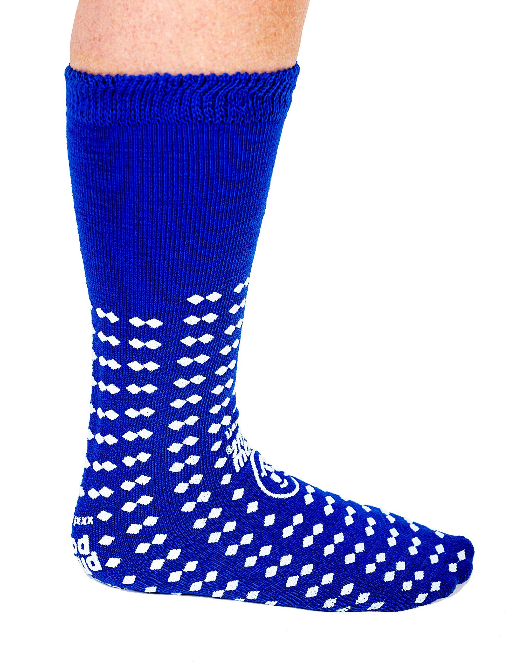 Wraparound Treaded Slip Stop Socks 360-Degree Tread (Blue XXXL Extra Wide Bariatric) (4 Pairs)