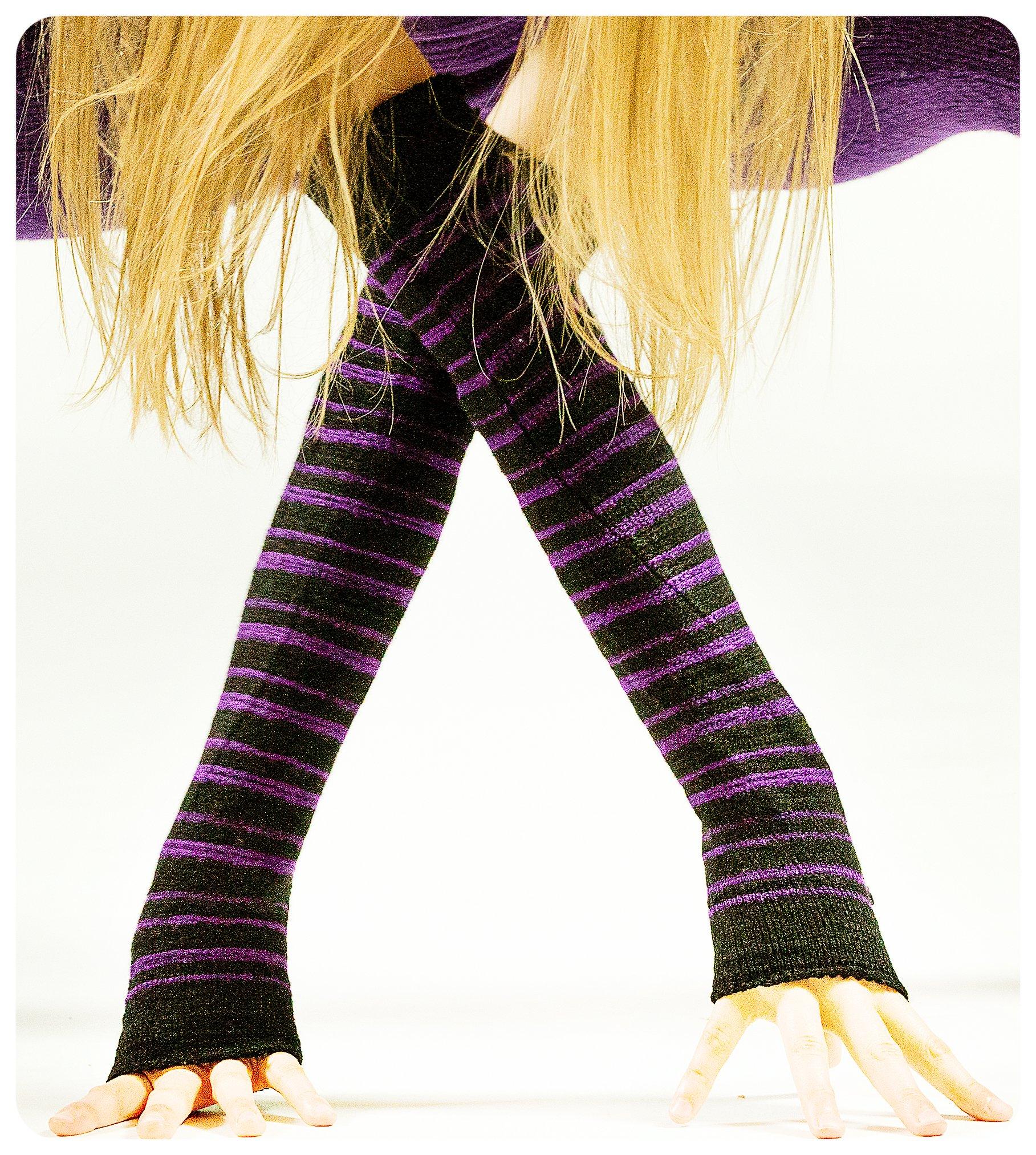 Black & Purple Striped Arm Warmer KD dance New York Sexy, Fashionable & Fingerless Arm Warmers Thumb Hole #MadeInUSA Happy New Year 2018 @KDdanceNewYork by KD dance New York (Image #3)