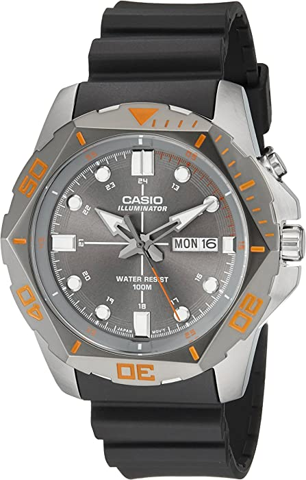 Casio Mens MTD-1080-8AVCF Super Illuminator Diver Analog Display Quartz Black Watch