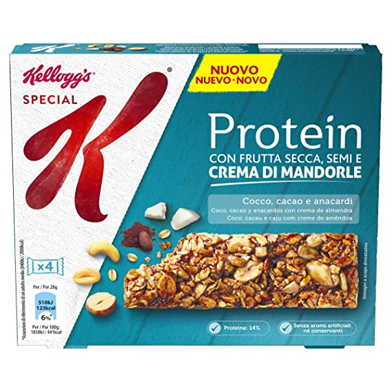 Kelloggs Barritas Special K Proteínas Chocolate, Coco and Anacardo - 10 Paquetes de 112 gr