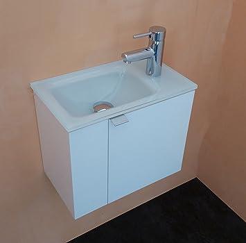 Meuble salle de bain avec Plan vasque en verre extra-clair laqué ...