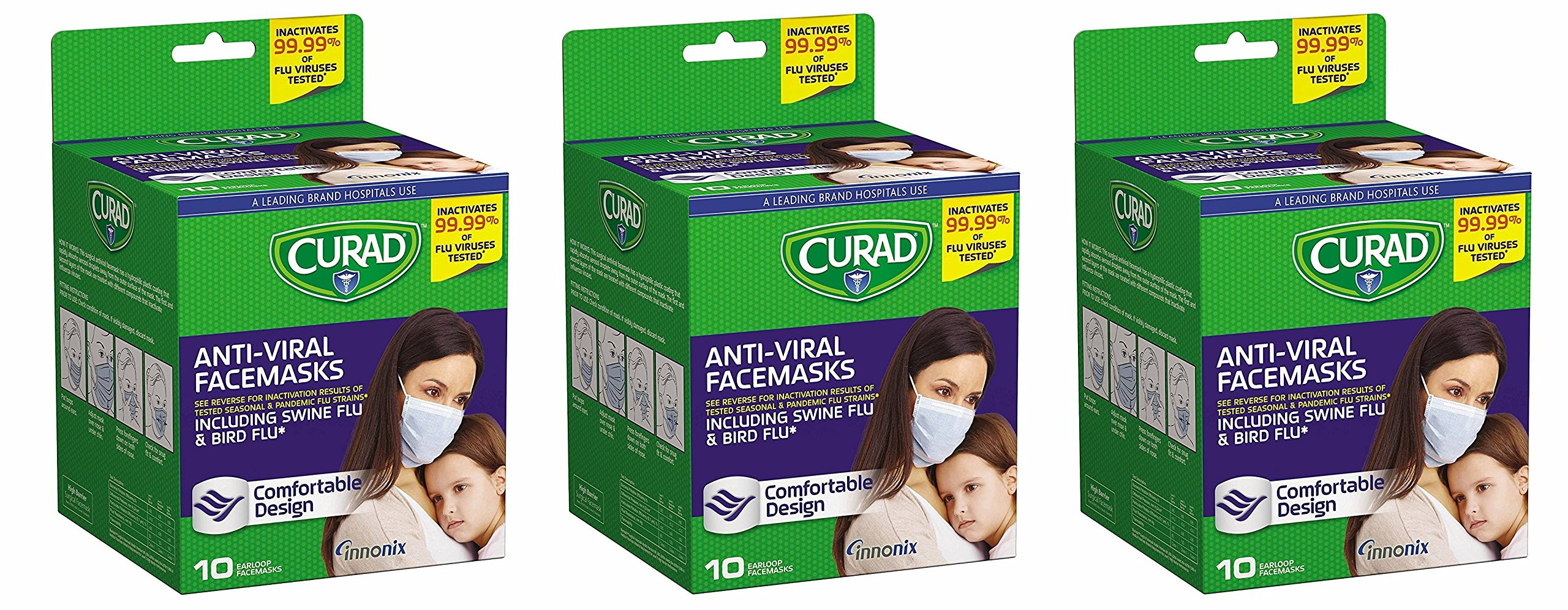 Curad Antiviral sJXKxR Face Mask, 10 Count (Pack of 3)