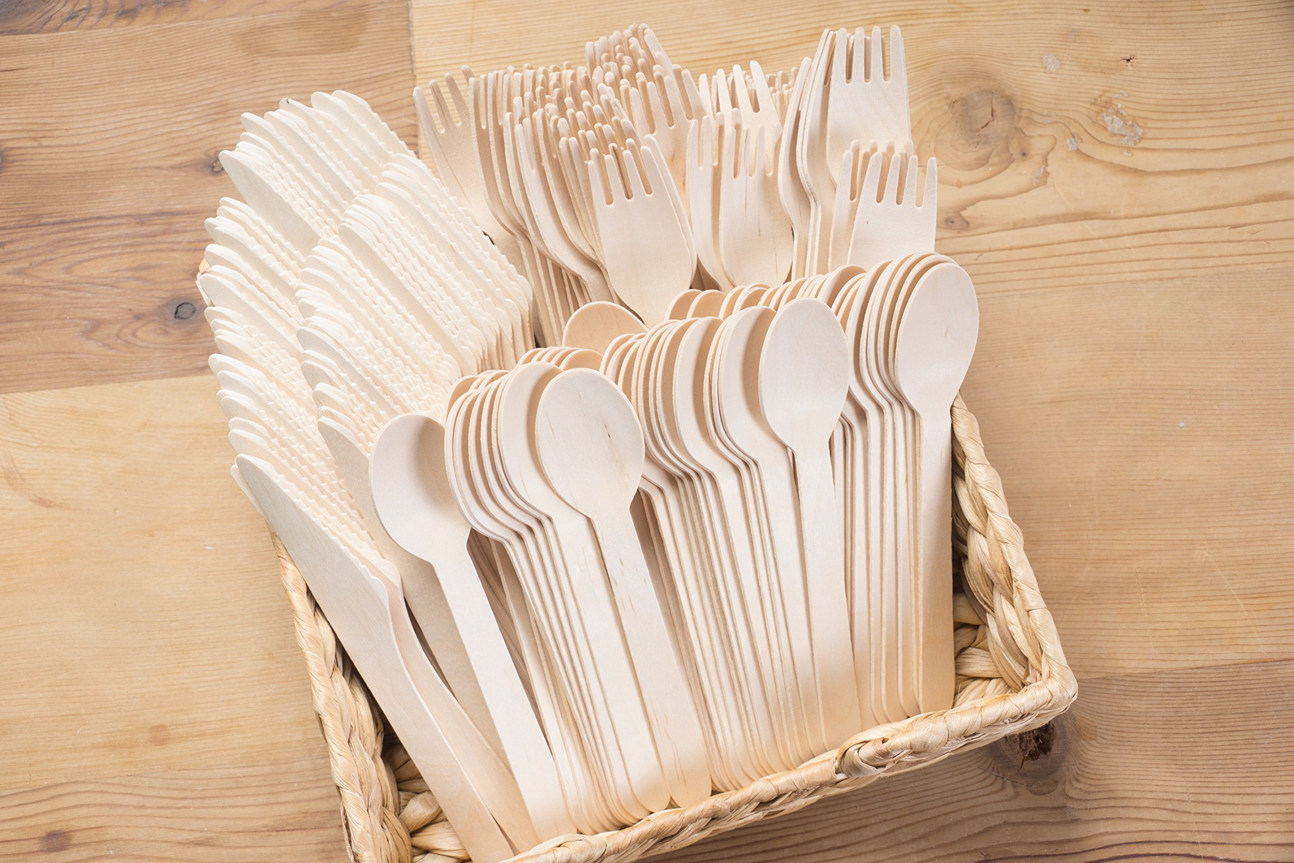 Juvale Disposable Cutlery - 400-Pack Wood Disposable Utensil Set, Knife, Fork Spoon Set, Biodegradable Eco-Friendly Natural Wood Party, Events, Holiday by Juvale (Image #1)