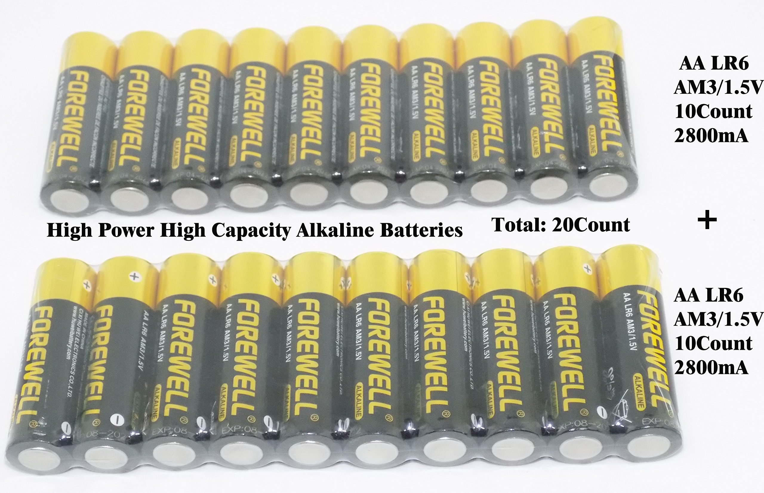 FOREWELL AA True High-Power Large-Capacity Alkaline Batteries,Very Suitable for High-Power Electrical Appliances, (LR06 AM3 1.5V2800mAH), a Total of 20count (10/Pack) Welcome to Actually Test.