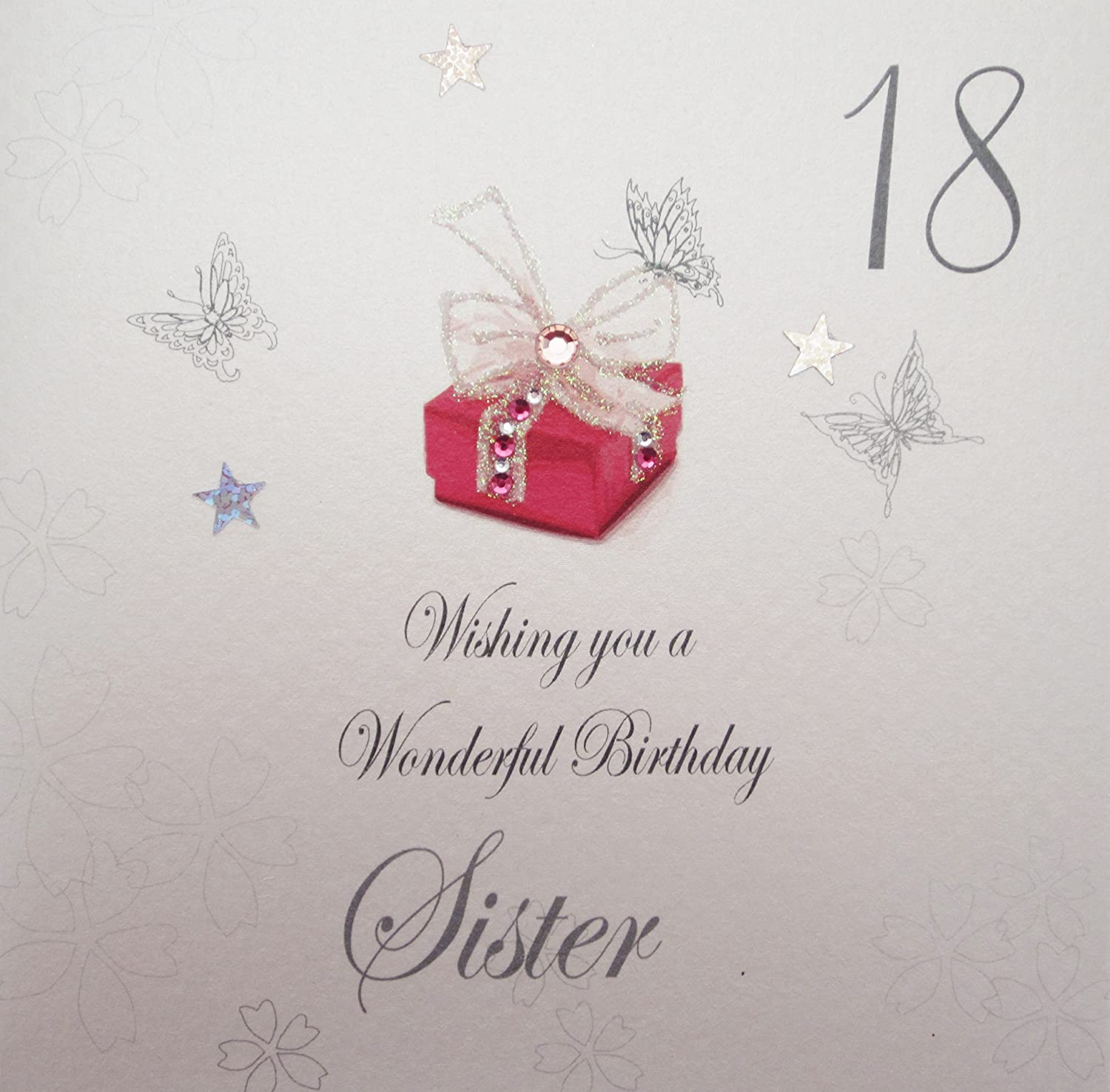 "White Cotton Cards ""18 Wishing You A Wonderful Birthday Sister"