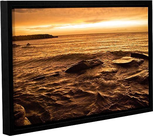 ArtWall Dan Wilsons Lake Erie Sunset Ii 2 Piece Floater Framed Canvas Set 32X48