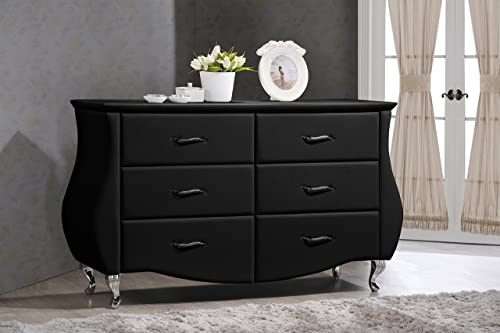 Baxton Studio Enzo Modern Contemporary Faux Leather 6-Drawer Dresser
