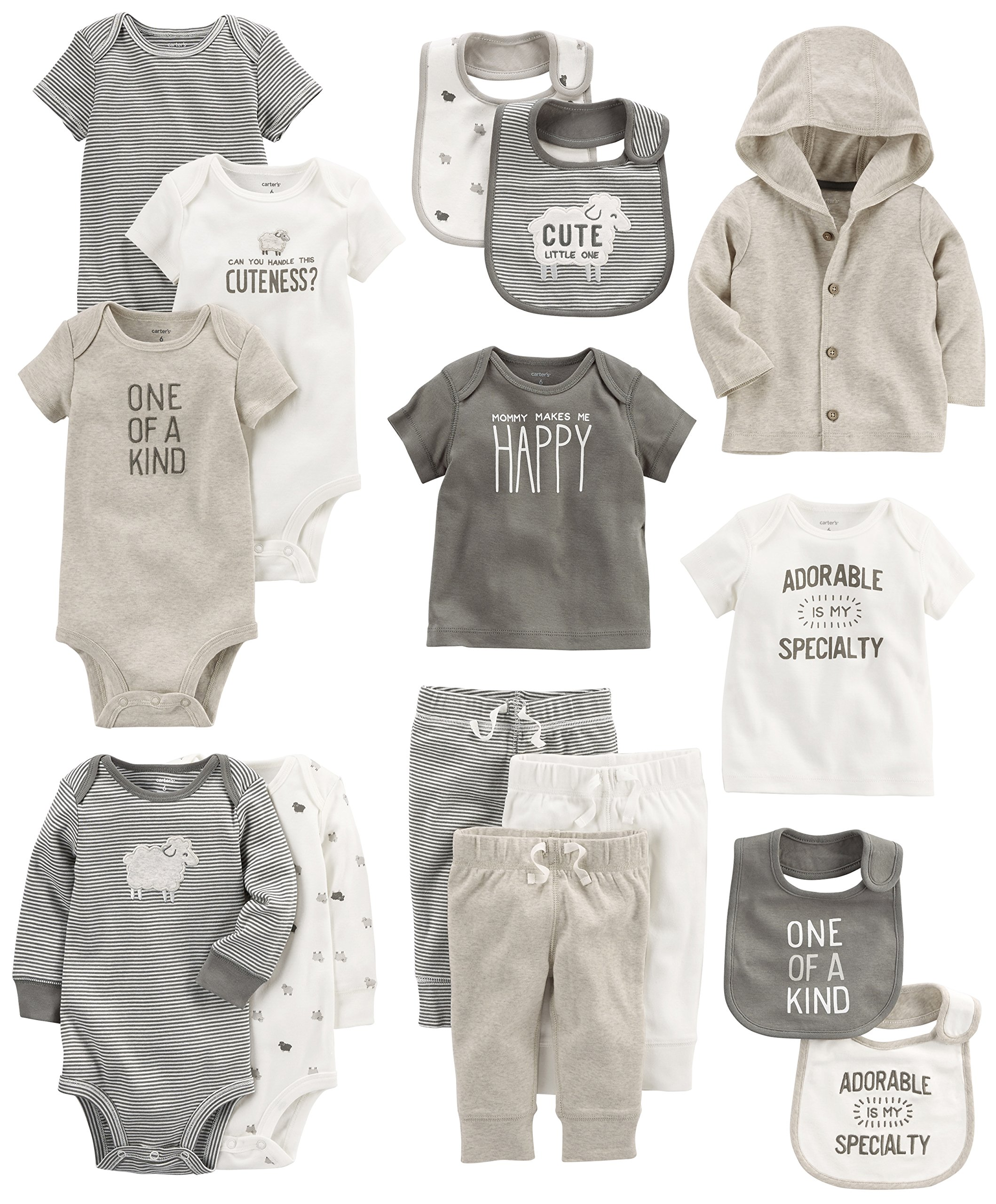 Carter's Baby 15-Piece Basic Essentials Set, Sheep, 6 Months