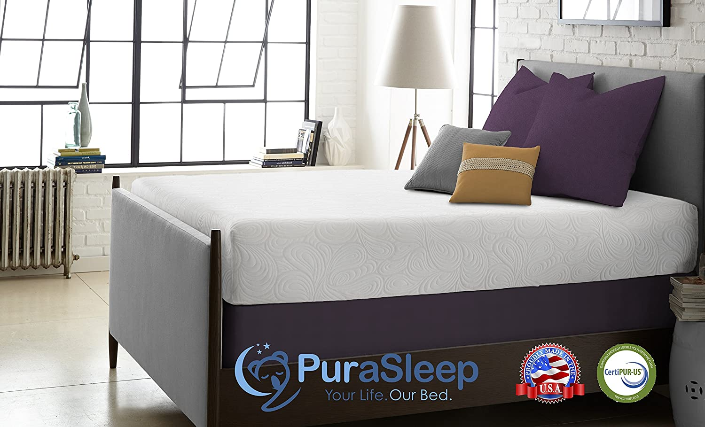 amazon com purasleep serenity gel memory foam mattress made in