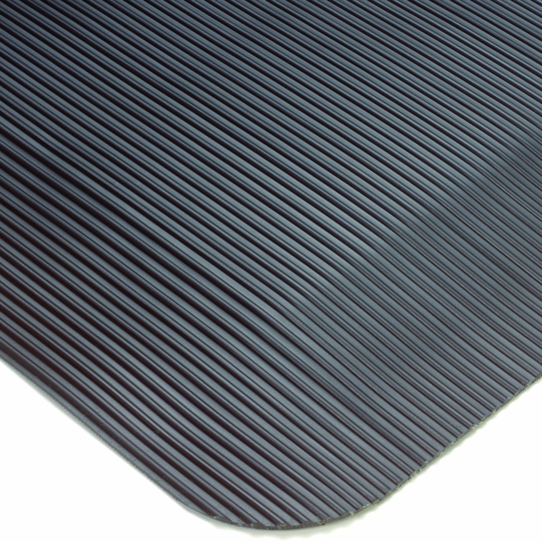 Wearwell PVC 433 ComfortPro Medium Duty Anti-Fatigue Beveled Mat, for Dry Areas, 2' Width x 3' Length x 1/2'' Thickness, Black