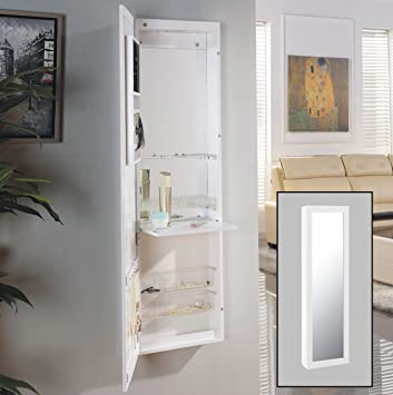 Danya B Over the Door Jewelry   Makeup Full Size Cabinet Mirror with  Interior Mirror and. Amazon com  Danya B Over the Door Jewelry   Makeup Full Size