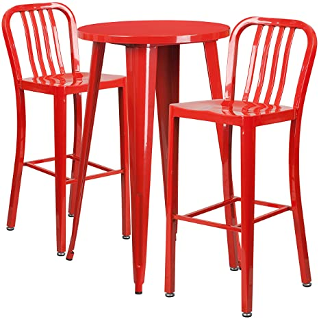 Awesome Amazon Com Flash Furniture 24 Round Red Metal Indoor Uwap Interior Chair Design Uwaporg