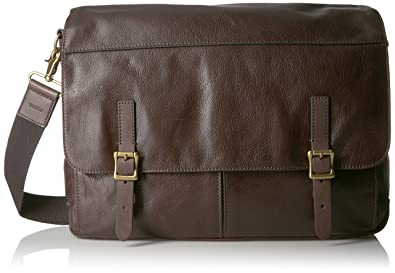 Amazon.com: Fossil Men's Defender Leather Messenger Bag, Dark ...
