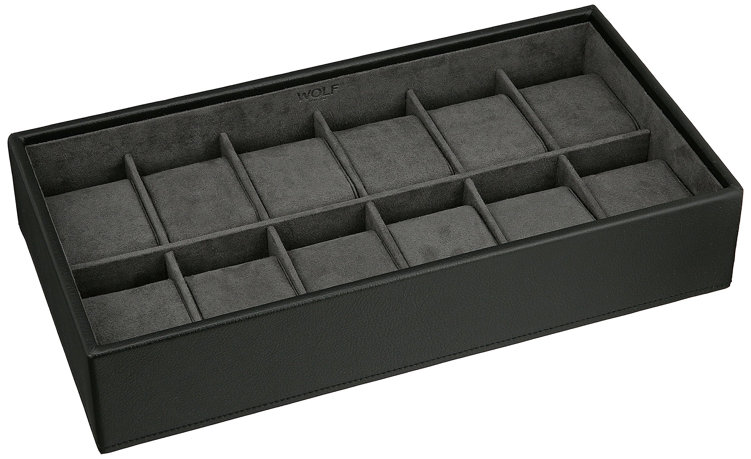 WOLF 309903 Stackable 12 Piece Watch Tray, Black