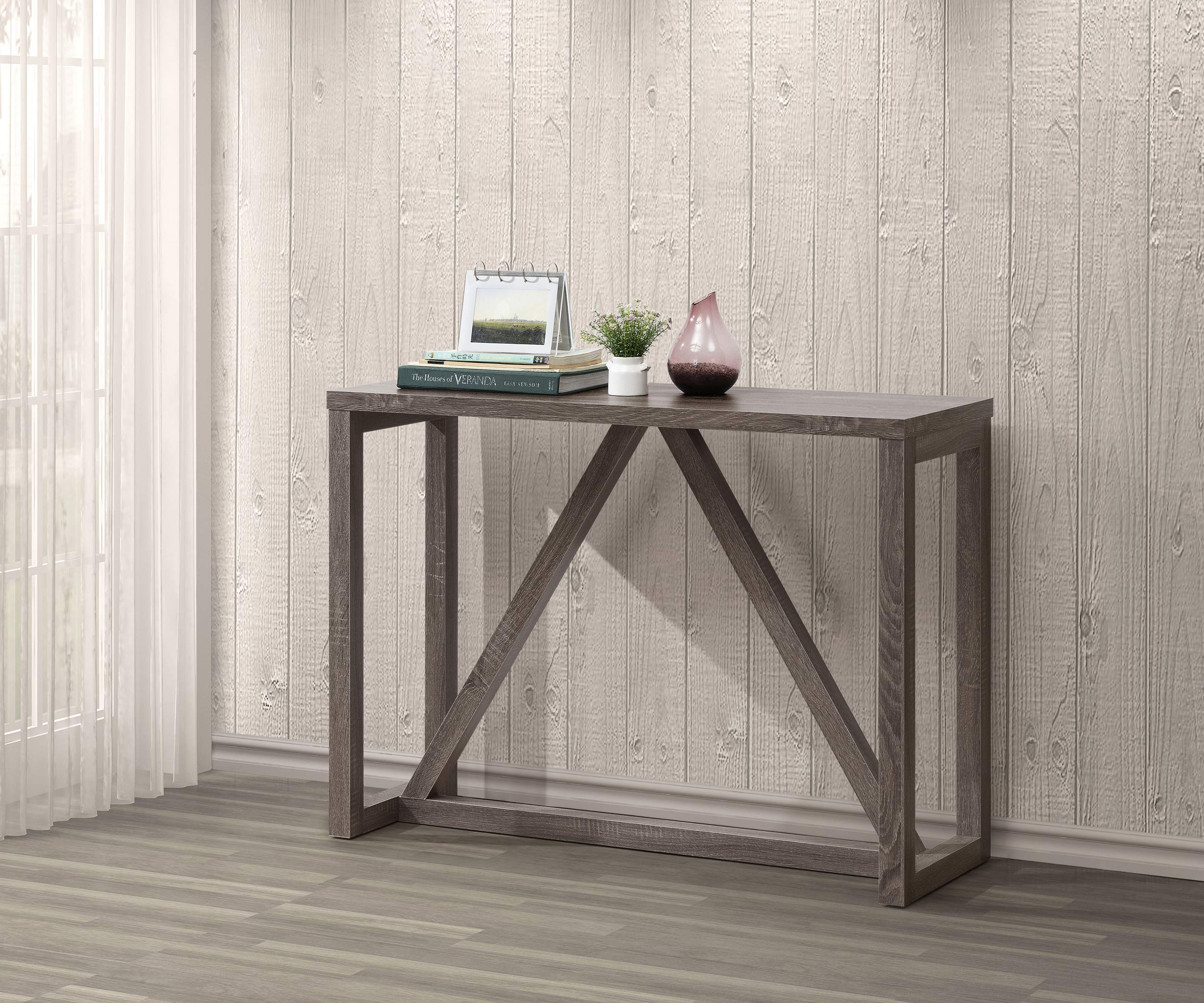 Weathered Grey Finish Accent Entryway Console Sofa Table by Unknown
