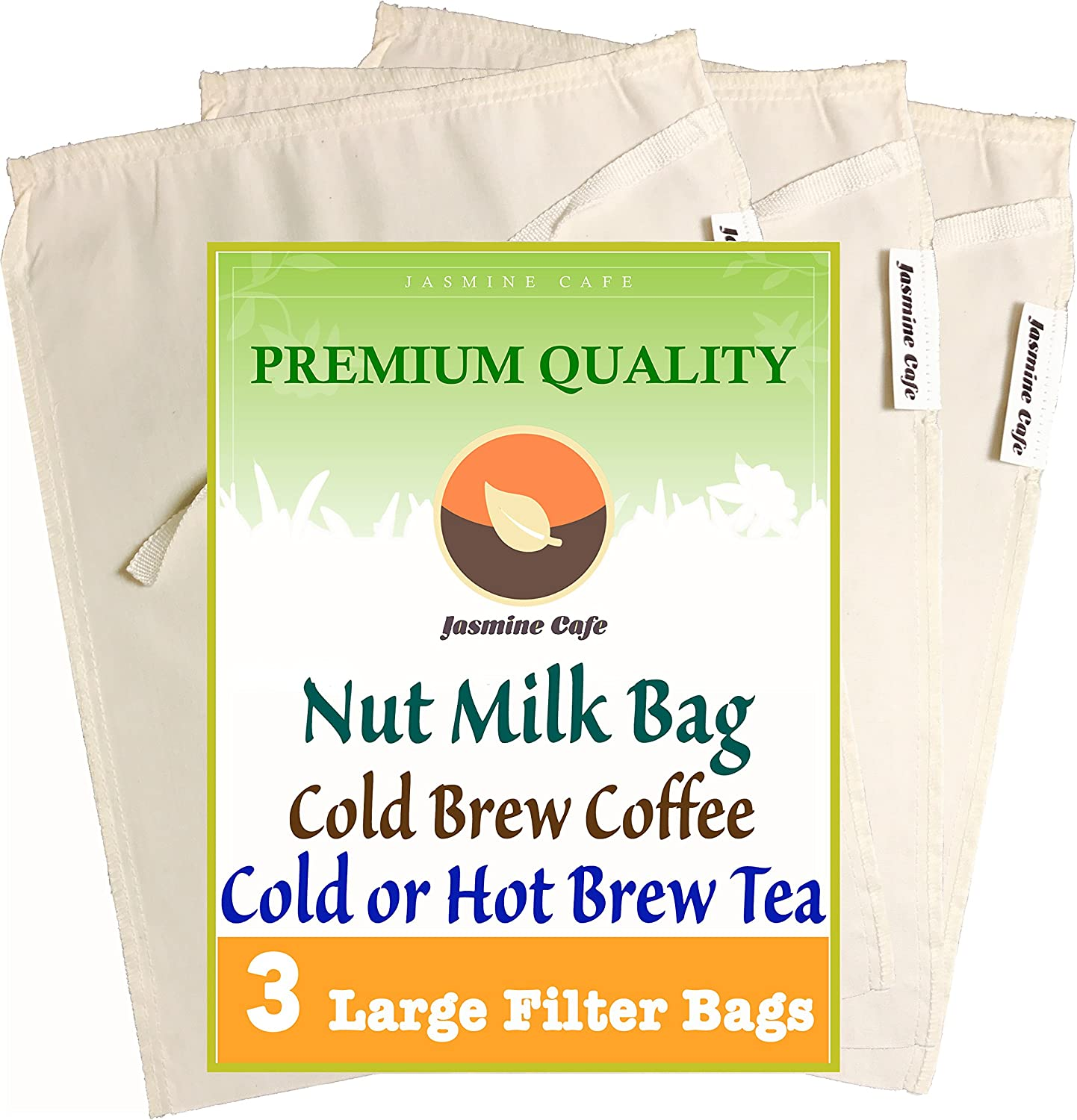 """3 Pack (Large 11""""x8"""") Organic Cotton Nut Milk Bag & Cold Brew Coffee - Great Strainer for Coffee Tea & Nut Milk - Reusable & Eco-Friendly - 100% Safe to Verwendung - gut for Commercial and Household"""