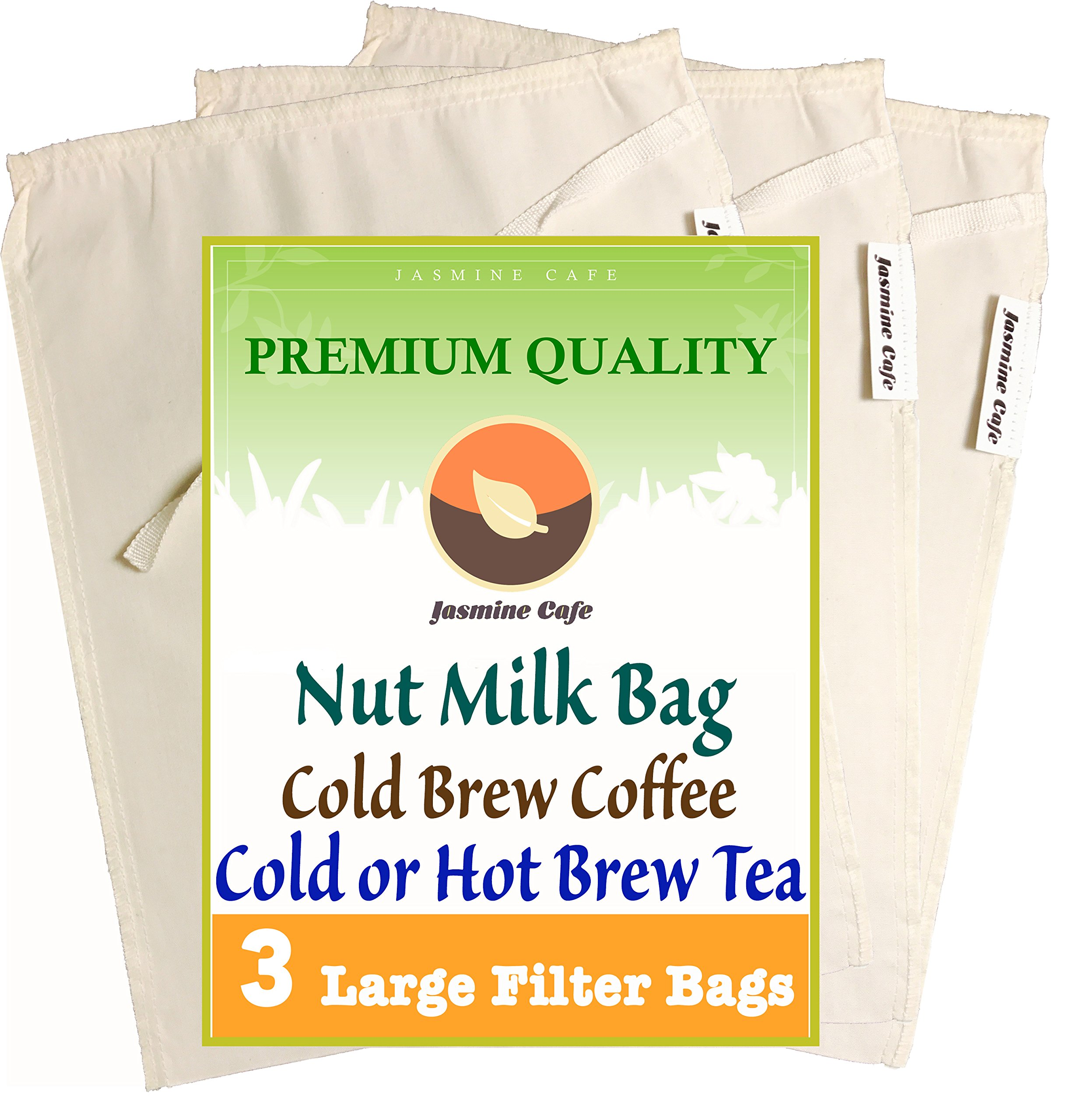 3 Pack (Large 11''x8'') Organic Cotton Nut Milk Bag & Cold Brew Coffee - Great Strainer for Coffee Tea & Nut Milk - Reusable & Eco-Friendly - 100% Safe to Use - Good for Commercial and Household by Jasmine Café (Image #1)