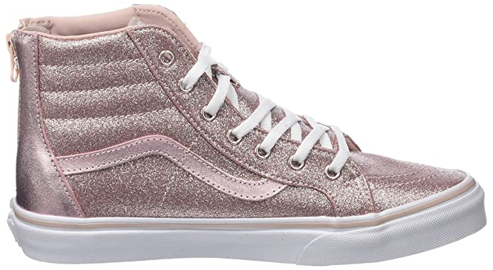 Amazon.com | Vans Sk8 Hi Zip Glitter & Metallic- Blush Kids 11 | Sneakers
