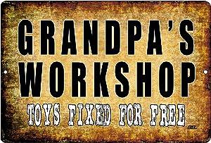 Rogue River Tactical Funny Grandfather Metal Tin Sign Wall Decor Garage Man Cave Grandpa's Workshop
