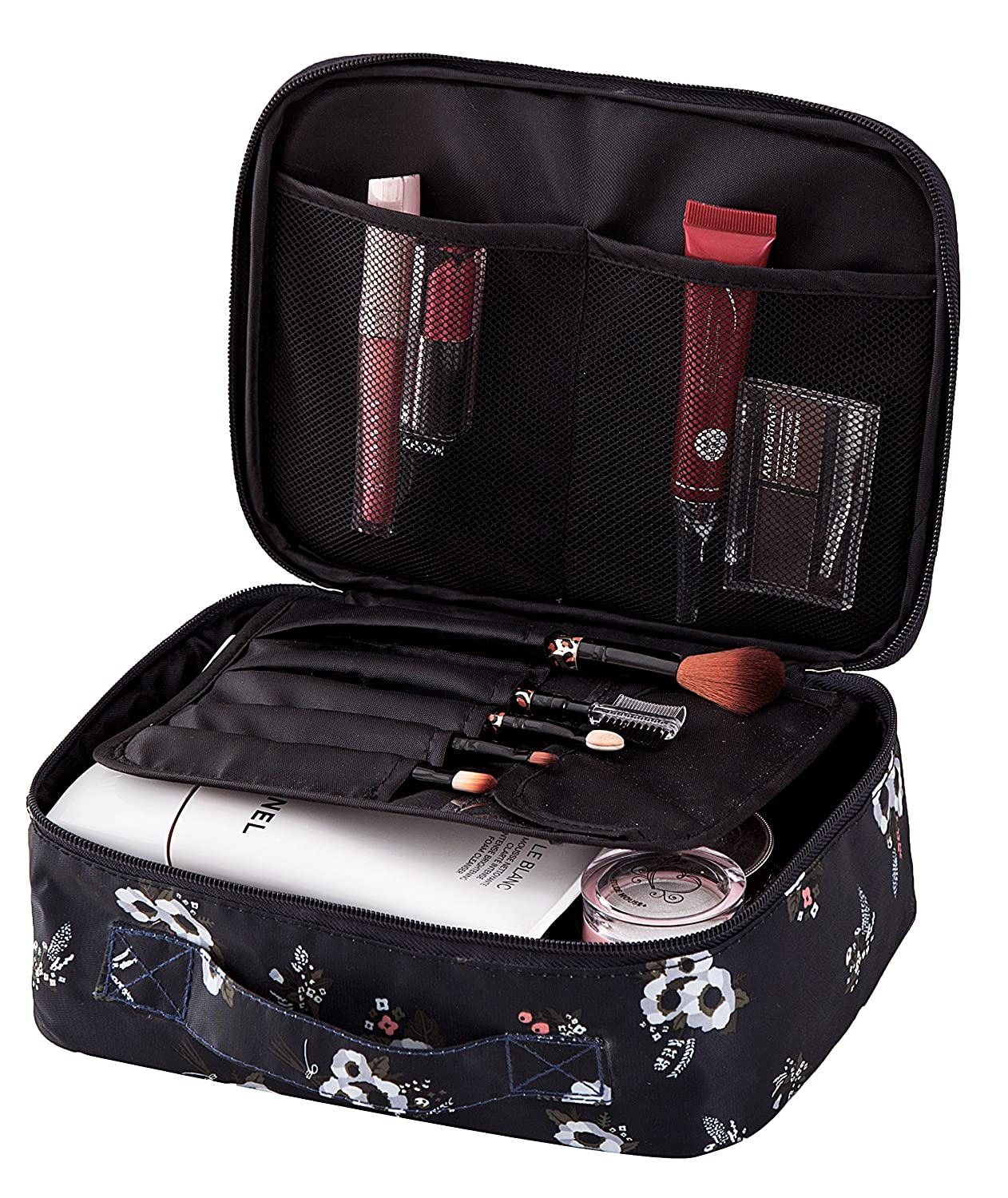 Travel Makeup Cosmetic Case,Portable Brushes Case Toiletry Bag Travel Kit Organizer Cosmetic Bag Black Flower A