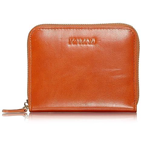 bf1f39a24791b KAVAJ Damen Geldbörse Portemonnaie Leder Paris Cognac-Braun mit RFID  Schutz. Portmonee Geldbeutel Brieftasche