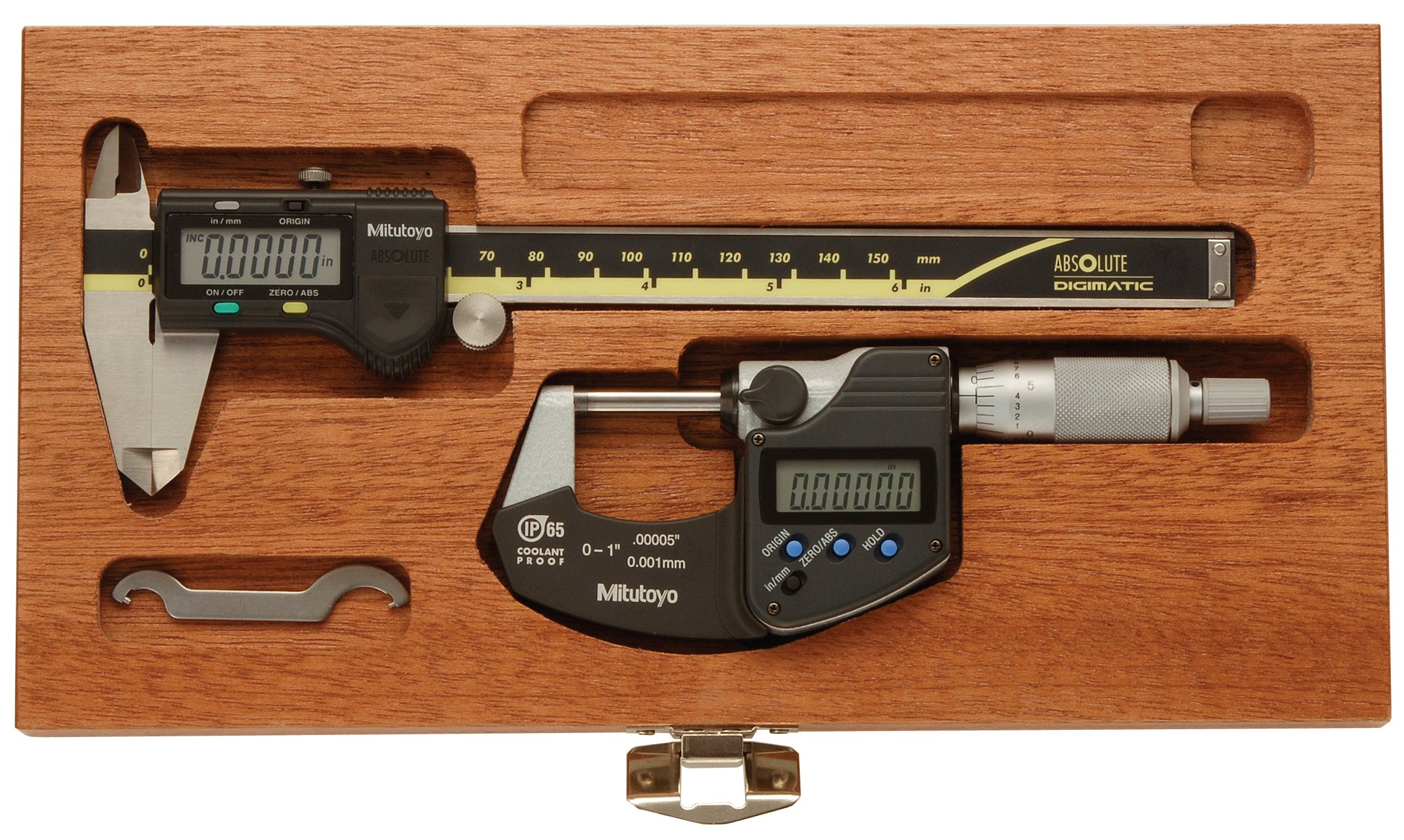 Mitutoyo 950-939-9, Digimatic Tool Kit, IP 65 0-1'' Digimatic Ratchet Micrometer, 6'' Digimatic Digital Caliper, In Mahogany Case