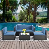 Walsunny 5pcs Patio Outdoor Furniture Sets,Low Back All-Weather Rattan Sectional Sofa with Tea Table&Washable Couch…
